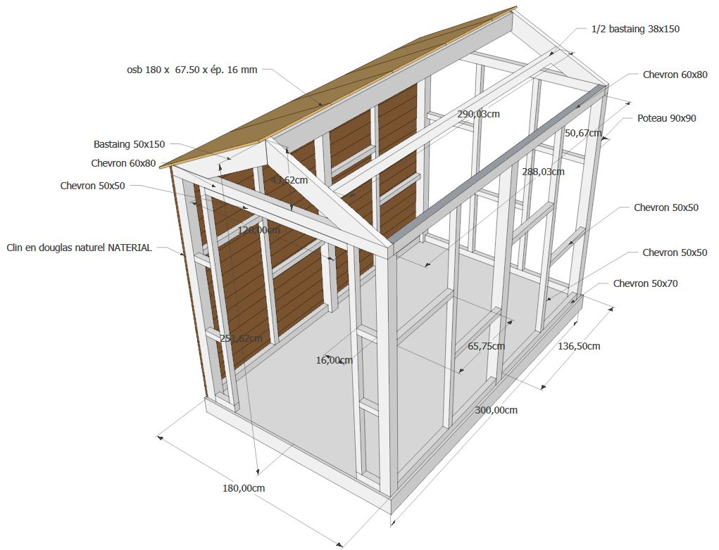 Plan pour construire cabane jardin bois